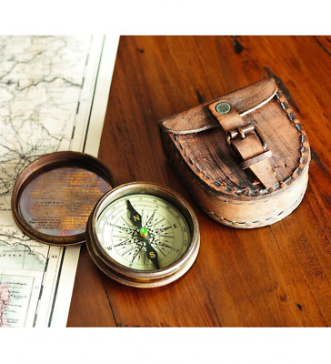 Antiqued Brass Poem Compass With Leather Case