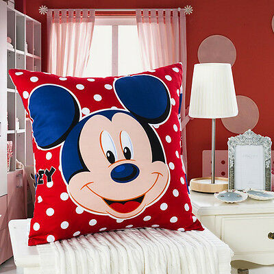"""Disney Mickey Mouse Cushions Childrens Decorative Pillows Cover & Pad Red 18x18"""""""