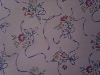 3 1/3 DOUBLE ROLLS 186sq ft burgandy tan blue & taupe ribbon & floral wallpaper