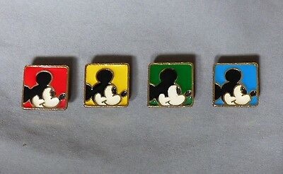 Vintage Set of 4 Walt DISNEY MICKEY MOUSE Gold-Tone Enamel Metal Button Covers