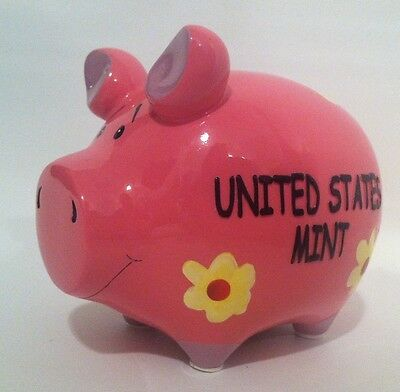 United States Mint Piggy Bank Pink Pig Yellow Daisy Daisies with Stopper New
