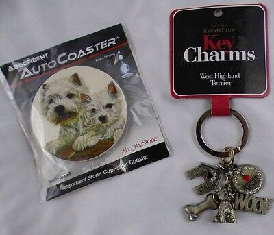West Highland White Terrier Dog Mini Gift Set Car Lover Keychain Auto Coaster