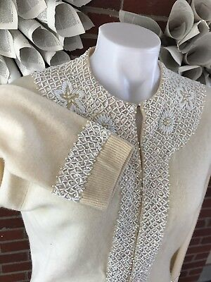 VTG FULLY FASHIONED Italy Women's Large Cashmere Beaded Cardigan Sweater Lined
