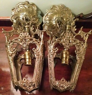 Hanging Brass Light Fixtures M.C. CO GIM 645 1920's Art Nouveau Chandeliers Pair