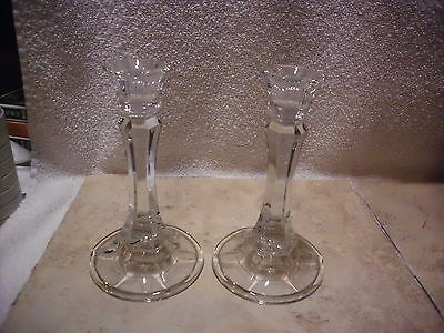 """Vintage Fancy Cut Glass Candle Holders Set Of 2 Matched Excellent 6"""" Tall"""