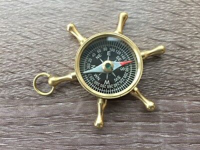 Brass Ship Wheel Compass - Necklace Pendant - Old Vintage Antique Pocket Style