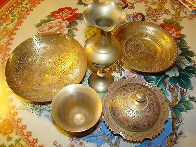 Lot of 5 BEAUTIFUL VINTAGE SOLID BRASS Mixing Bowl CUP VASE @ ORNATE ENGRAVED