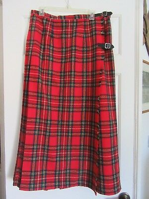 Long PLEATED WOOL TARTAN Red PLAID SKIRT Wrap-a-round Sz Large BRENDELLA IRELAND