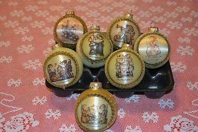 7 round glass Goebel Hummel Christmas ornaments ~ Germany 2004 and up