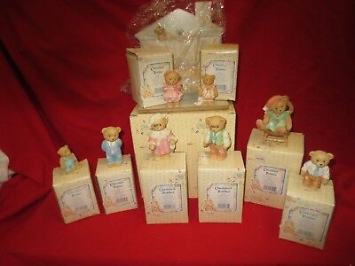 Cherished Teddies THANKSGIVING FAMILY CHRISTMAS 9 MINT BOXED /CERTI.w/STAGE $200