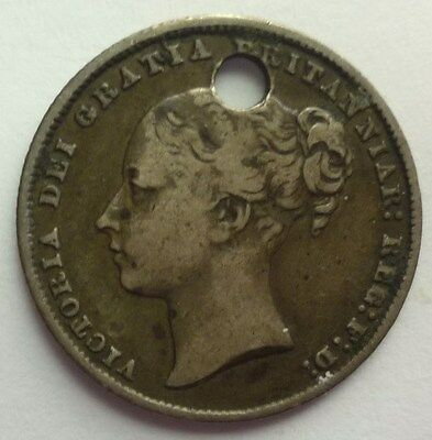 1868 Great Britain - Shilling - Queen Victoria - Holed - Sterling Silver Coin