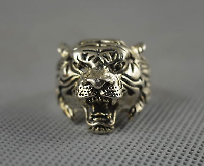 Collectable Handwork Decor Old Miao Silver Carve Mighty Tiger Head Exorcism Ring