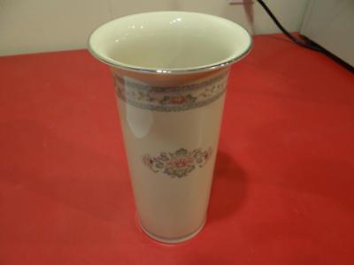 """Lenox Charleston China 8"""" Vase With Floral Design & Silver Trim Look! Am4945"""