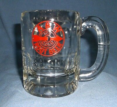 """Vintage A&W Root Beer Mug 4-1/2"""" Restaurant-Clear Bullseye/Red Arrow/Ice Cold"""
