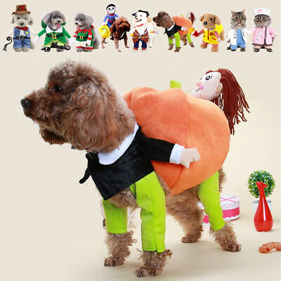 Pet Dog Cat Christmas Party Fancy Dress Jacket Coat Costume Outfit Clothes S-XL
