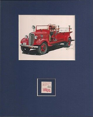 Vintage Fire Truck - Frameable Postage Stamp Art - 0009