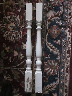 2 Antique Vintage Wooden Porch Stair Balusters Spindles Posts Chippy White Paint