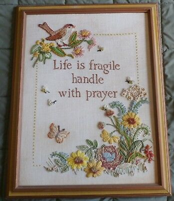 "Vintage Crewel Finished Framed Wall Art Embroidery 22 1/4"" X 17 1/4"" Clean"