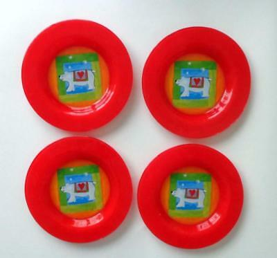 """Lot of 4 Fused Glass Colorful  Polar Bear Themed Plates - 8.25"""""""