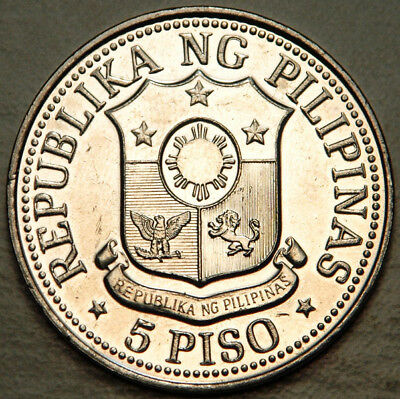 Philippines Scarcely Minted 5 Piso 1982 (Lot #1)