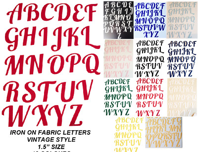 IRON ON die cut Fabric LETTERS! 1.5 approx IN Size, in 12 Colours! VINTAGE STYLE