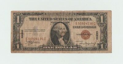 1935 A $1 Brown Seal Hawaii Silver Certificate Emergency WW II currency note