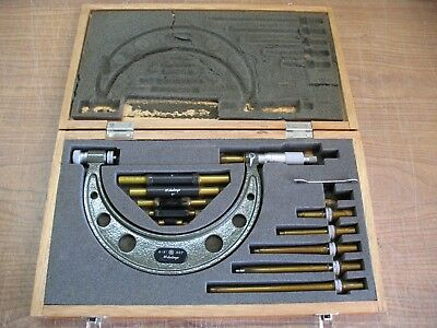 "Mitutoyo 104 – 137 0-6"" x .001'' interchangeable Anvil Outside Micrometer set"