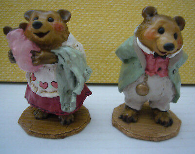 Lot of 2 Wee Forest Folk Bear Figurines BB-12 BB-13 'Grandmother & Grandfather'