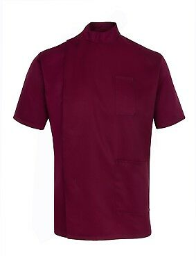 Mens Healthcare Tunic Male Nurse Nhs Hospital Dentist Vet Maroon Burgundy Ins35M
