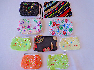 Lot of 9 Vintage BEADED COIN PURSES Zippered Pouch Fabric Retro  Make-Up Case