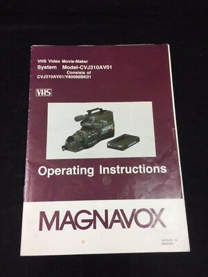 Operating Instructions Magnavox Video Movie Maker Cvj310Av01
