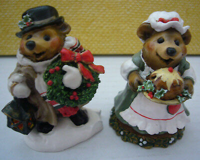 Lot of 2 Wee Forest Folk Bear Figurines BB-8 BB-9 GOOD TIDINGS & PLUM PUDDING