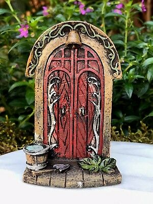 Miniature Dollhouse FAIRY GARDEN Gnome ~ Mini Red Door with Bucket & Bell ~ NEW