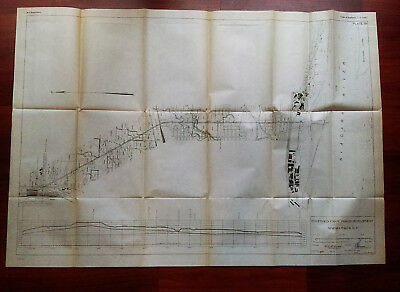 1919 Sketch Map Diagram of Proposed Canal Power Development Niagara Falls NY