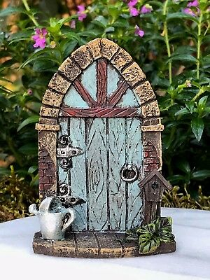 Miniature Dollhouse FAIRY GARDEN Gnome ~ Mini Blue Door with Watering Can ~ NEW