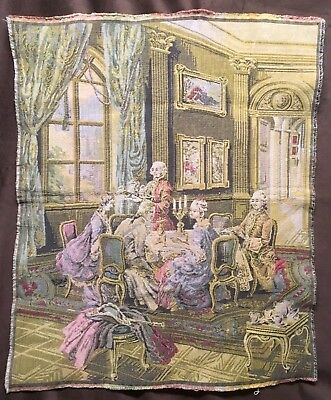 """Rare Antique Tapestry, Made in Belgium 25 x 31"""" Pre-WW1, Louis the 13th Style"""
