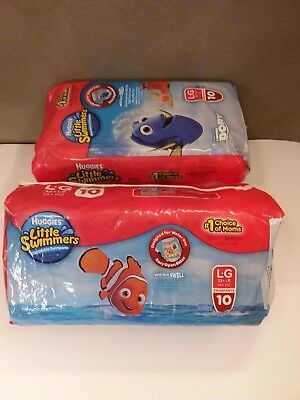 Lot of 2 10-Count Huggies Little Swimmers Swim Pants Large 32+lb Finding Dory