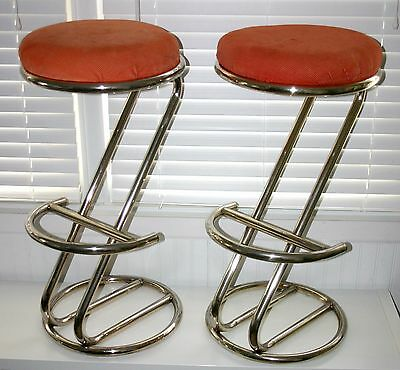 Mid century Modern Chrome Z bar stools matching pair cord cushions 1970's 70's