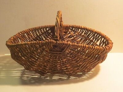 Vtg- Antique Native American Indian Great Lakes Area Red Willow Basket W Handle