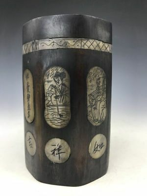 Chinese natural bamboo brush barrel pure hand-carved ancient text