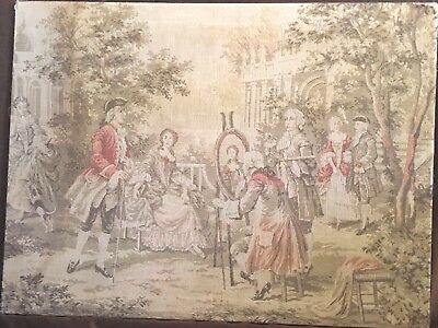 "Rare Antique Tapestry, Made in Belgium 24 x 32"" Pre-WW1, Louis 13th, Stretched"