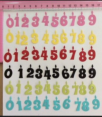 Die Cuts! 60 Pc Number Candles (0-9x6 Sets) Birthday Celebration Cardmaking