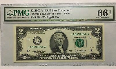 PMG 65 EPQ Gem Uncirculated 1935-I 1976 Minneapolis $2 FRN IA Block Fr