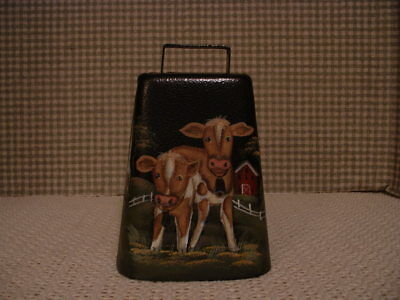 Steel Original Large Cow Bell Cows, Farms Hand Painted Folk Art By Jmd