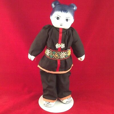 Vintage Traditional Chinese Doll with Blue White Porcelain Head, Hands and Feet
