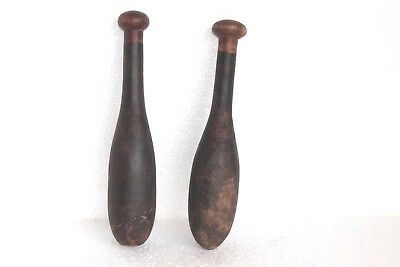 2 Pc Vintage Wooden Hand Carved Indian Washing Cloth Bat Wand Collectible W-49