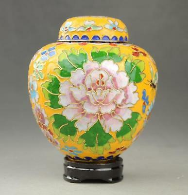 Beautiful China Cloisonne Enamel Hand-painted Peony  pot Jar