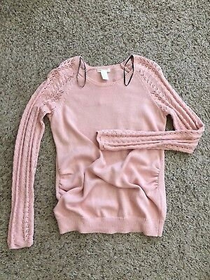 NEW! H&M Mama Maternity Stretchy Knitted Tunic Pullover Sweater Top Pink sz M