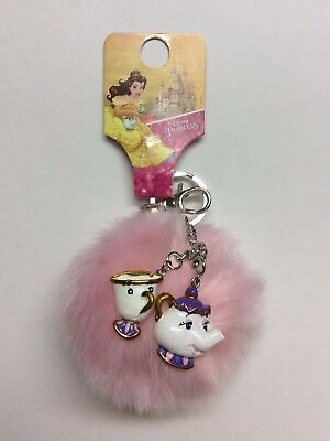 Primark Beauty and the Beast Disney Mrs. Potts and Chip Pom Pom Keychain PINK