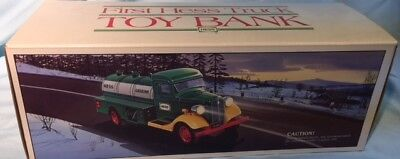 Vintage 1985 First Hess Truck Toy Bank with Box NEW IN BOX